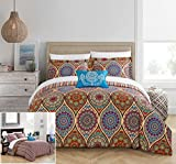 Difference Between Cal King and King Bed Chic Home 4 Piece Shulamit Reversible Boho-inspired print and contemporary striped patterned technique Queen Duvet Cover Set Red