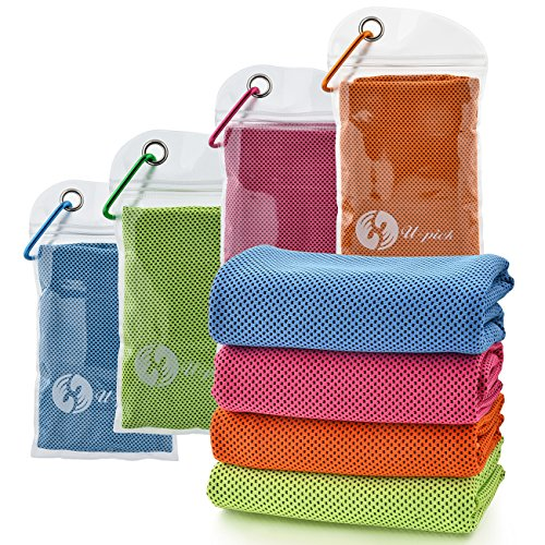 "U-pick 4 Packs Cooling Towel (40""x 12""), Ice Towel, Microfiber Towel, Soft Breathable Chilly Towel for Yoga, Sport, Gym, Workout, Camping, Fitness, Running, Workout & More Activities"