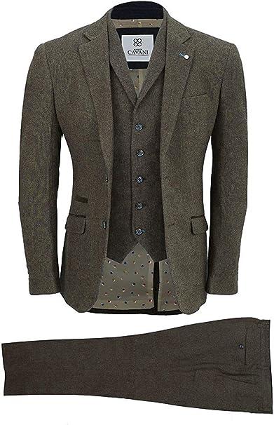 Amazon.com: Cavani para hombre mezcla de lana traje de 3 ...