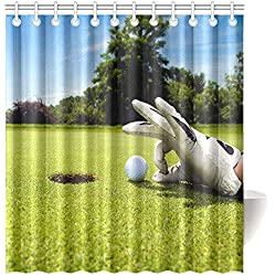 CTIGERS Sport Theme Shower Curtain Funny Golf Player Polyester Fabric Bathroom Decoration 66 x 72 Inch