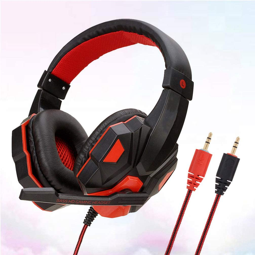 OUYAWEI Hot Wired Gaming Headset Headphone for PS4 for Xbox One for Nintend Switch PC red