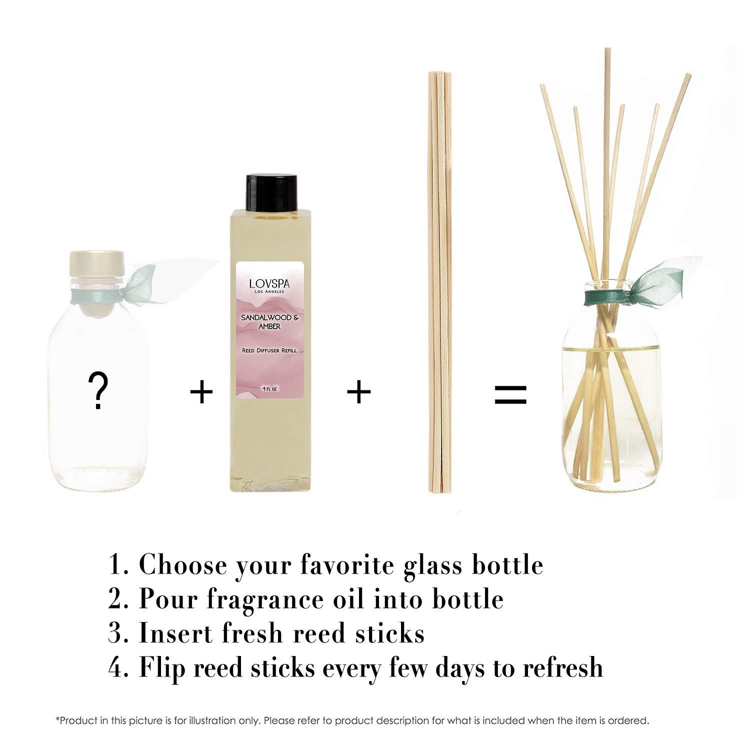 LOVSPA Sandalwood & Amber Reed Diffuser Oil Refill with Reed Sticks | Sandalwood & Amber with Notes of Bergamot, Orange, Rose & Violet with Base of Cedarwood & Vanilla, 4 oz | Made in The USA by LOVSPA (Image #2)