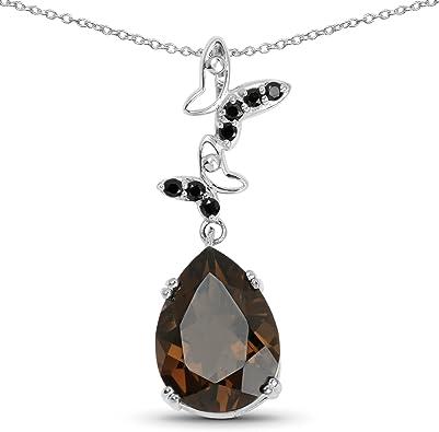 Smokey Quartz Pendant Sterling Silver Links Necklace Gift for Her Smokey Quartz Necklace Sterling Silver Pendant Gemstone Necklace