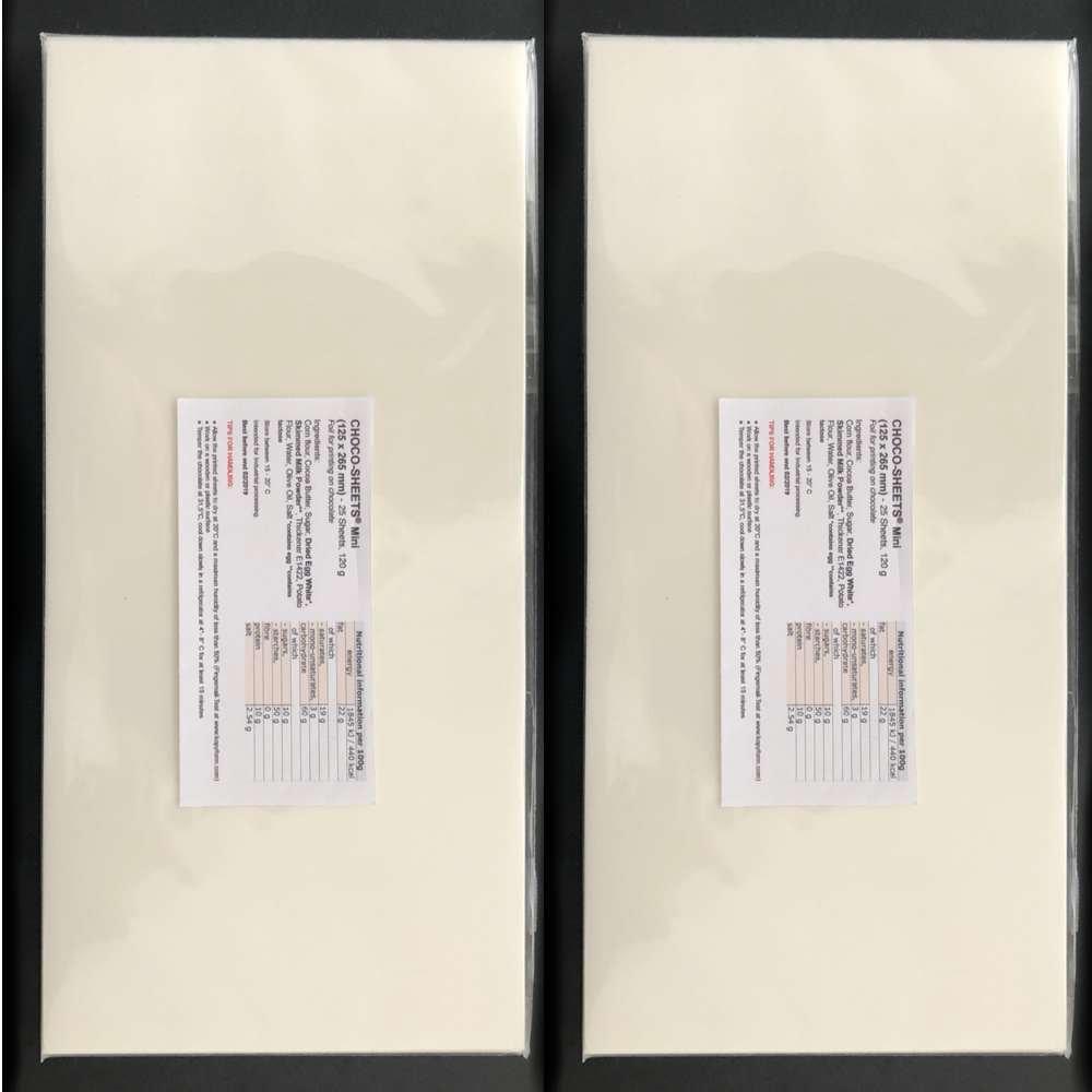 Bramacartuchos Caja de 25 Hojas de Papel Choco Transfer Mini para Impresiones en Chocolate (tamaño 125 x 265 mm) Usar con Tinta Comestible.