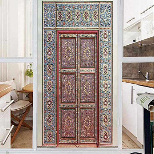 Decorative Window Film,No Glue Frosted Privacy Film,Stained Glass Door Film,A Magnificent Moroccan Traditional Ancient Door Gate Brass Historic Handicraft,for Home & Office,23.6In. by 47.2In