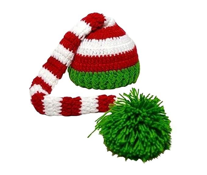 Niceeshoptm Weihnachten Häkeln Strick Baby Foto Mützegrün Rot