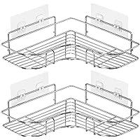 Laigoo Corner Shower Caddy Adhesive Bathroom Shelves Floating Shelves for Kitchen/Bathroom Organizer/Decor(Stainless Steel, 2 Pack)