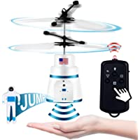 PALA PERRA Flying Toy Mini RC Helicopter, Rechargeable Infrared Induction Flying Drone Indoor Games Toys, Remote Control Helicopter for Kids Parachute with Jumping Paratrooper