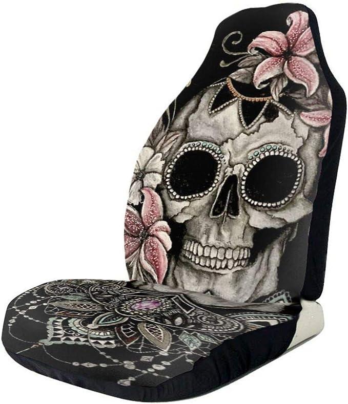 2PCS Flower Skull Auto Sitzbezug Set Passend f/ür ausgew/ählte Fahrzeuge Auto LKW Van f/ür Auto UV