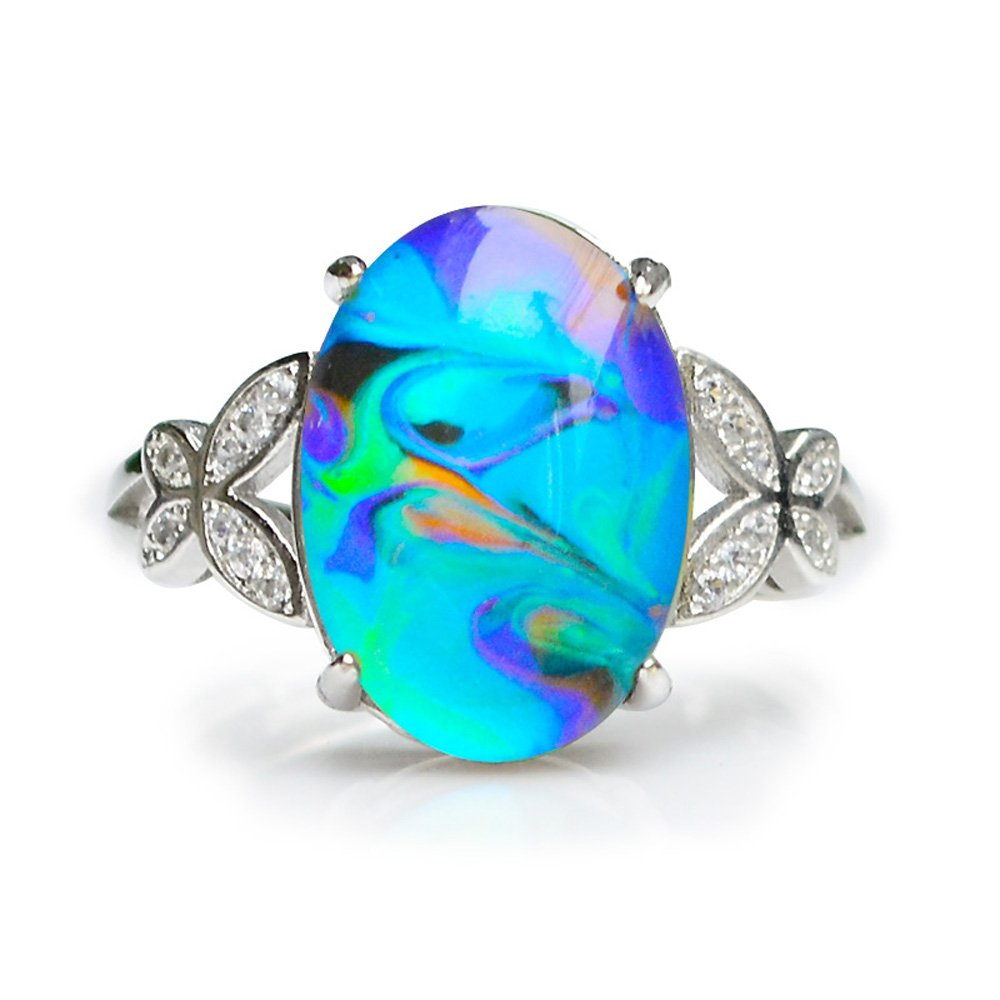 Fun Jewels Opalescent Swirl Color Changing Oval Crystal Stone Brass Mood Ring Size Adjustable