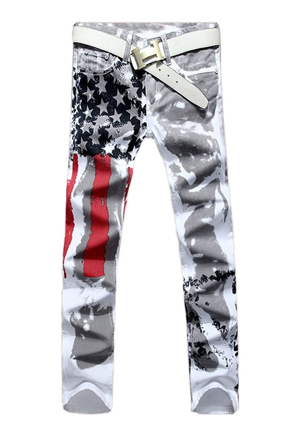 delicate Men s Stretch Slim Fit USA Flag Printed Joggers Straight Jeans  Hip-hop Pants 5201149c608d1