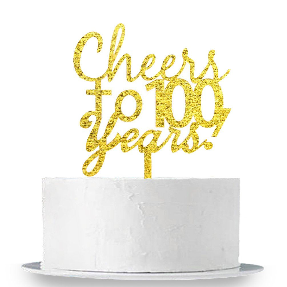INNORU Cheers to 100 Years Cake Topper - 100th Birthday,Anniversary Cake Bunting Party Decoration Sign