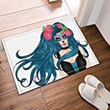 NYMB Halloween Decor, Girl With Makeup Mexican Sugar Skull And Flowers In  Long Hair Bath Rug, Non Slip Floor Entryways Outdoor Indoor Front Door Mat  ...