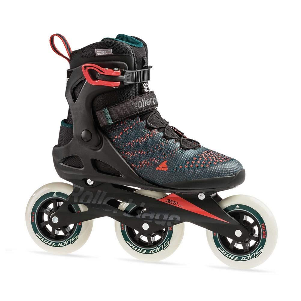 Rollerblade Macroblade 110 3Wd Men's Adult Fitness Inline Skate, Teal Green/Orange Burst, Medium 7
