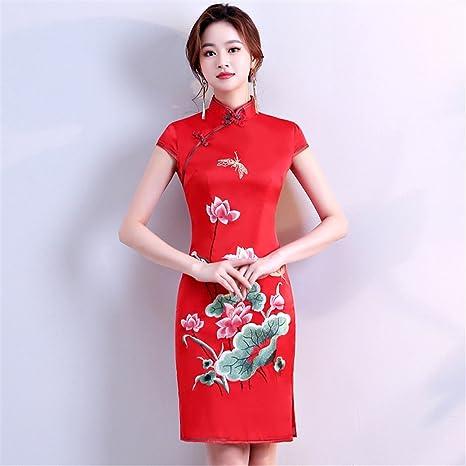 Da Abito Ricamo Donna Cinese Qipao Yan Vestito Cheongsam nwmvN80