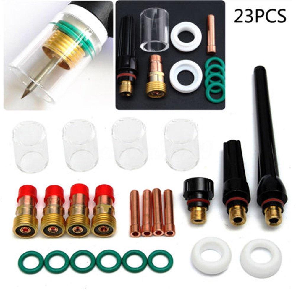Rokoo 23 pcs/Set TIG Soudage Torche Collet Gaz Lentille # 10 Pyrex Verre Tasse Kit Outils Pour SP WP-17/18/26