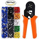 Crimp Tool Kit, Ferrule Crimper Plier/Wire Crimper Tool with 800pcs Wire Terminal Crimp Connector Wire Ferrules Kit By ATHOMEY