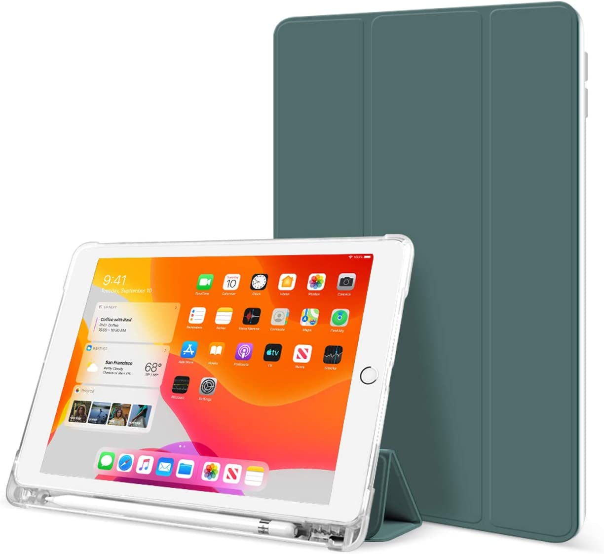 KenKe iPad 9.7 Inch 2018/2017 Case with Pencil Holder Cover Compatible with Leightweight Clear Transparent Smart Cases for Apple iPad 9.7 5th/6th Generation Soft TPU Skin (Dark Green)