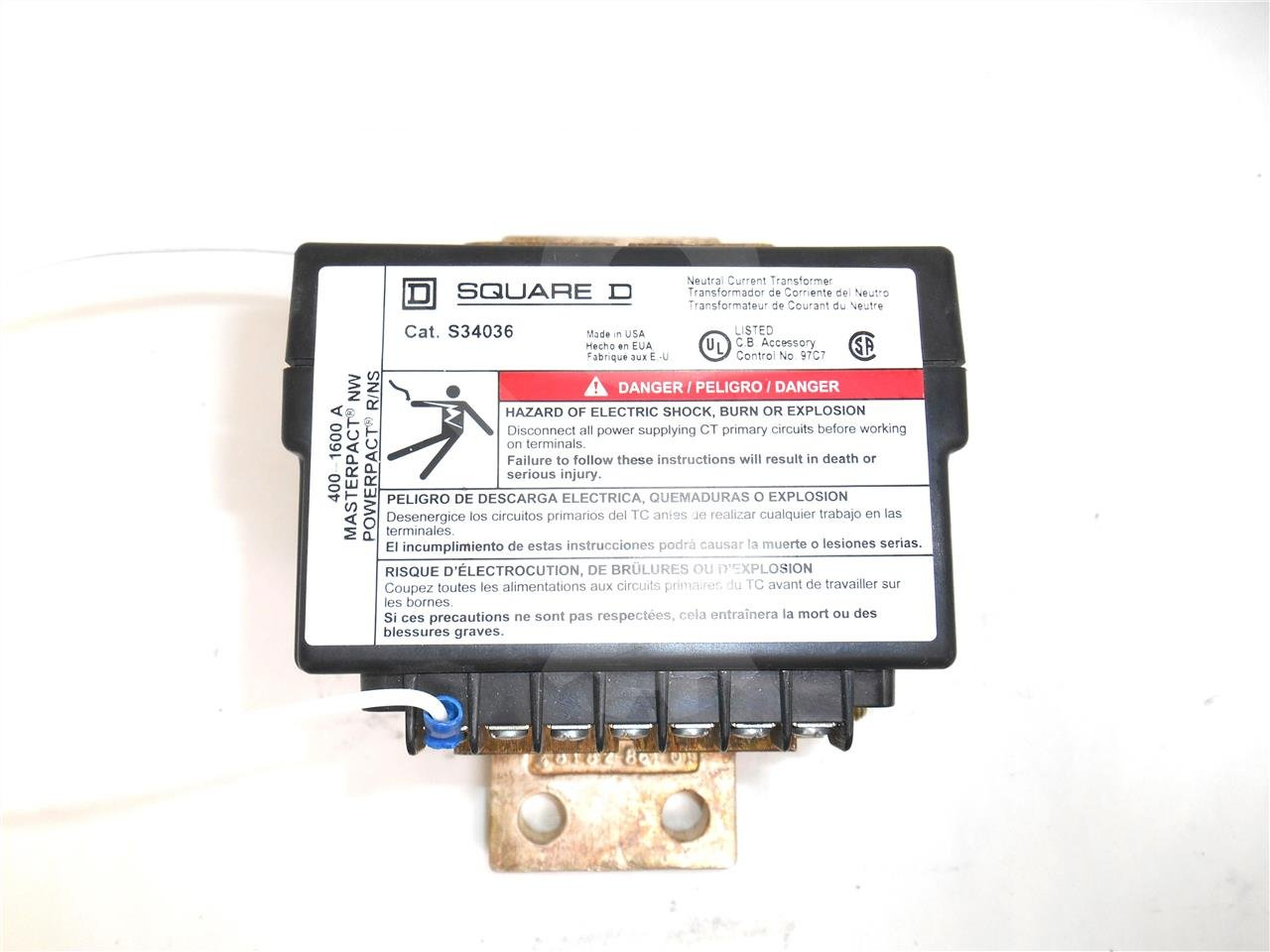 S34036 - 400-1600A NEUTRAL CURRENT TRANSFORMER, MICROLOGIC