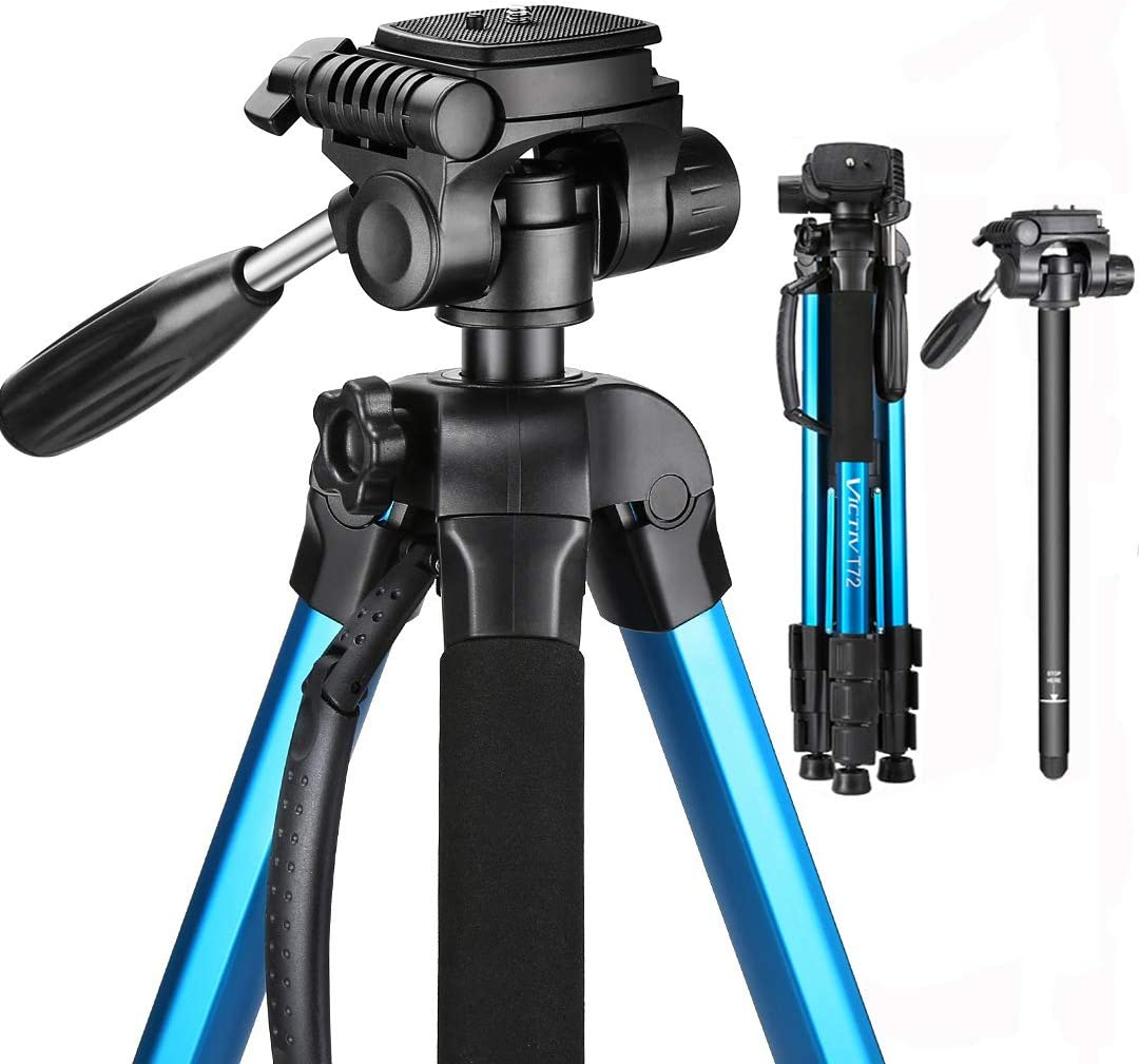 Victiv Aluminum Camera Tripod with Carry Bag, 2-in-1 Tripod Monopod for DSLR with 3-Way Swivel Pan Head and 9lbs Load for Travel and Work - Blue