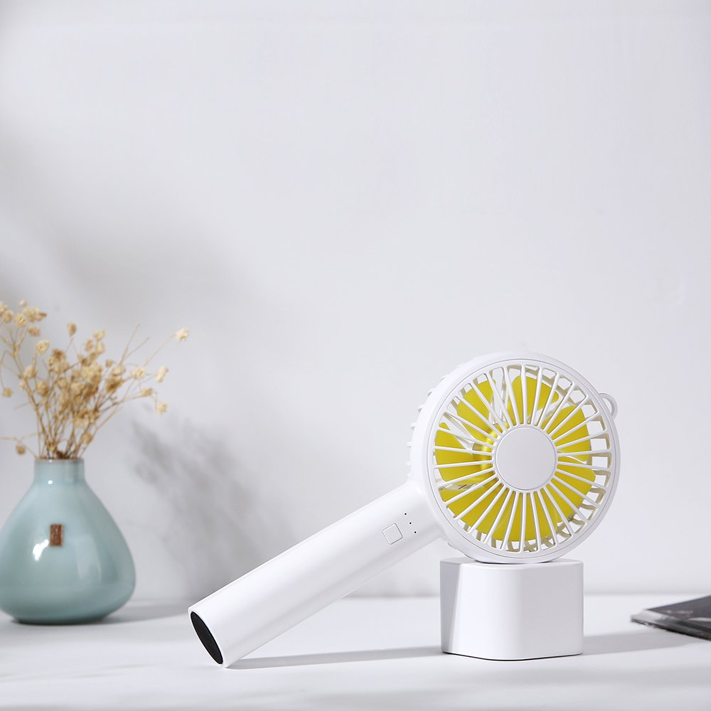 HCW CREATE Mini Handheld Personal Fan USB Rechargeable Battery for Office Travel (White)