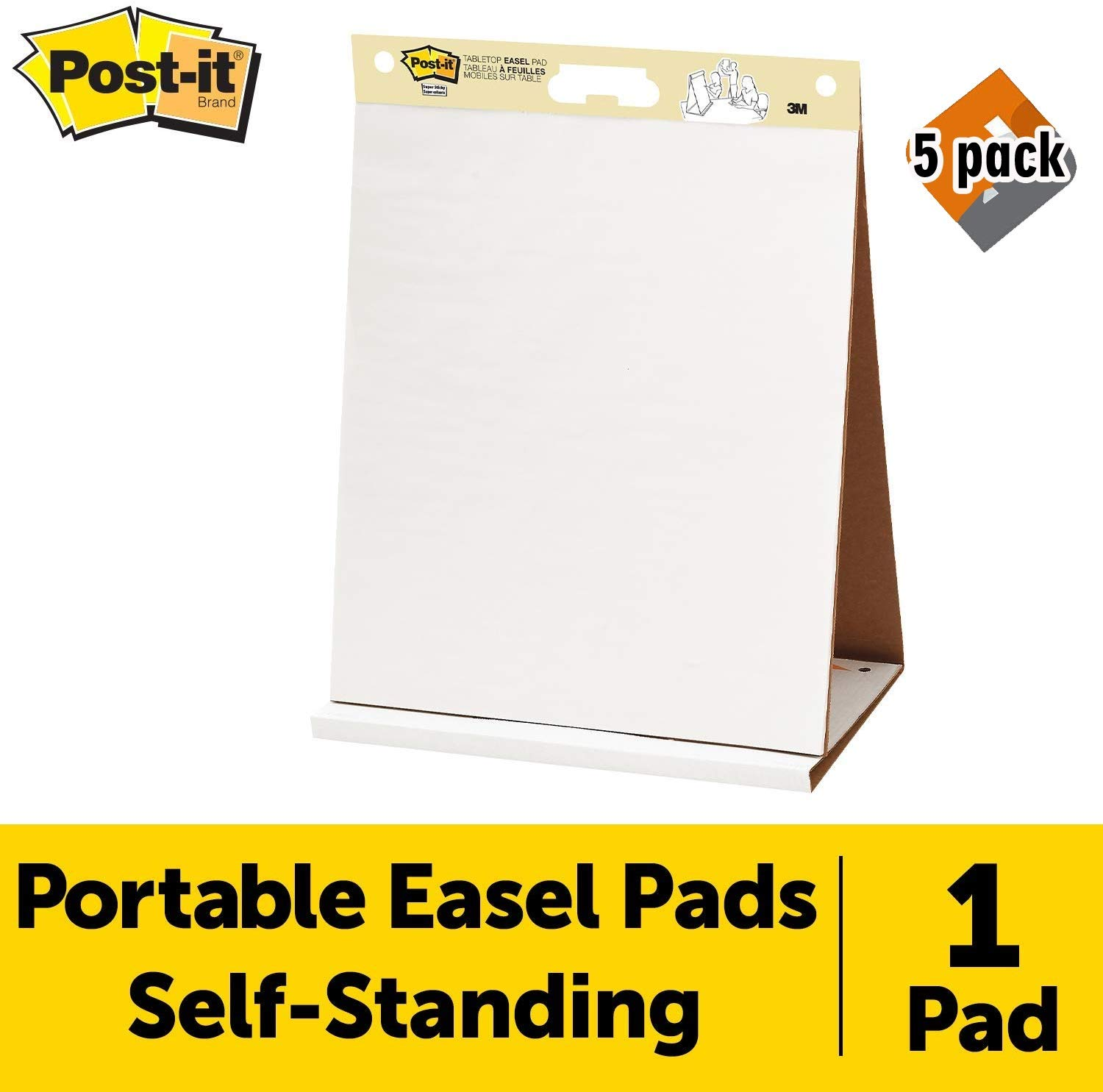 1 Pad 563R 20 Sheets//Pad Post-it Super Sticky Tabletop Easel Pad Pack of 5 Portable White Premium Self Stick Flip Chart Paper Built-in Easel Stand 20 x 23 Inches