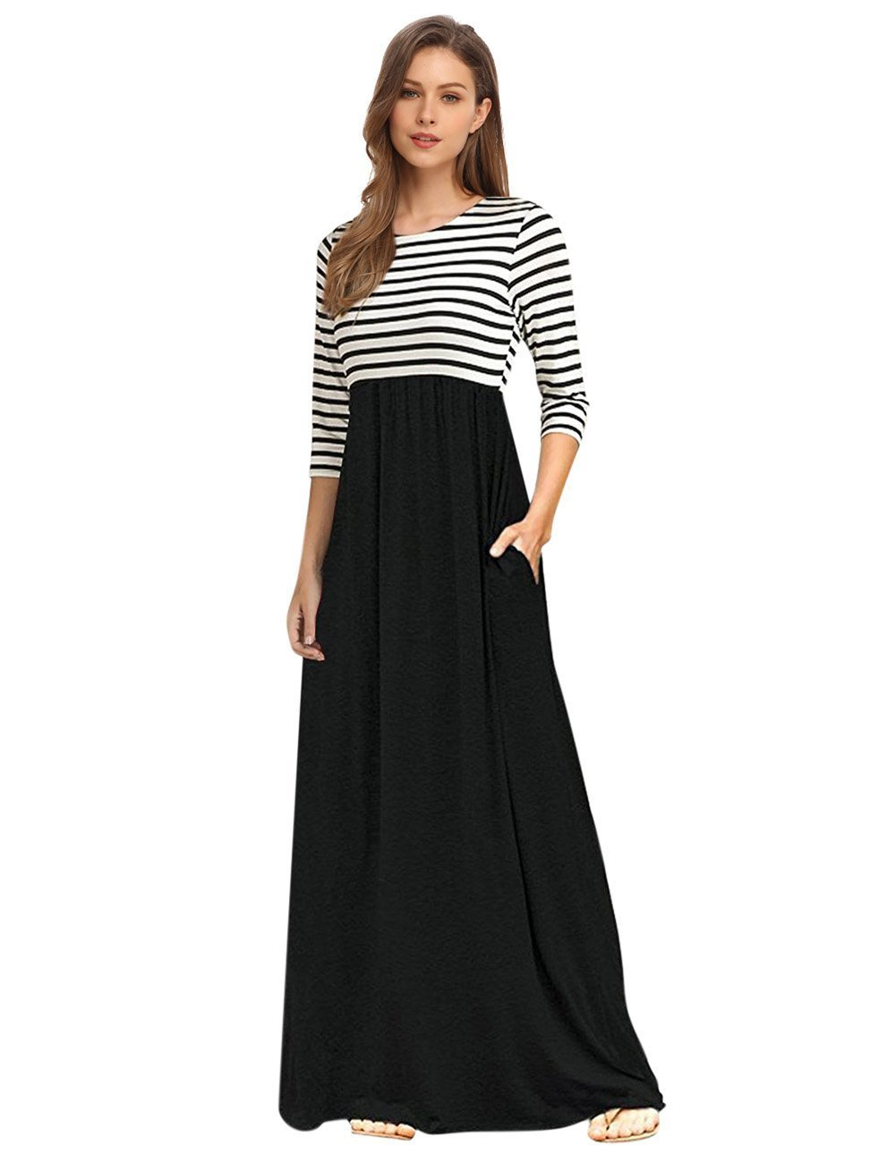 GloryStar Women's Striped Round Neck 3/4 Sleeve Casual Long Maxi Dress with Side Pockets Black M