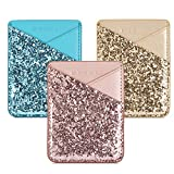 Phone Card Holder Adhesive Stick-on Credit Card Pu Leather Wallet Card Holder for Back of Phone case Pouch Sleeve Pocket for Most of Smartphones iPhone/Android /Samsung Galaxy (3PC)