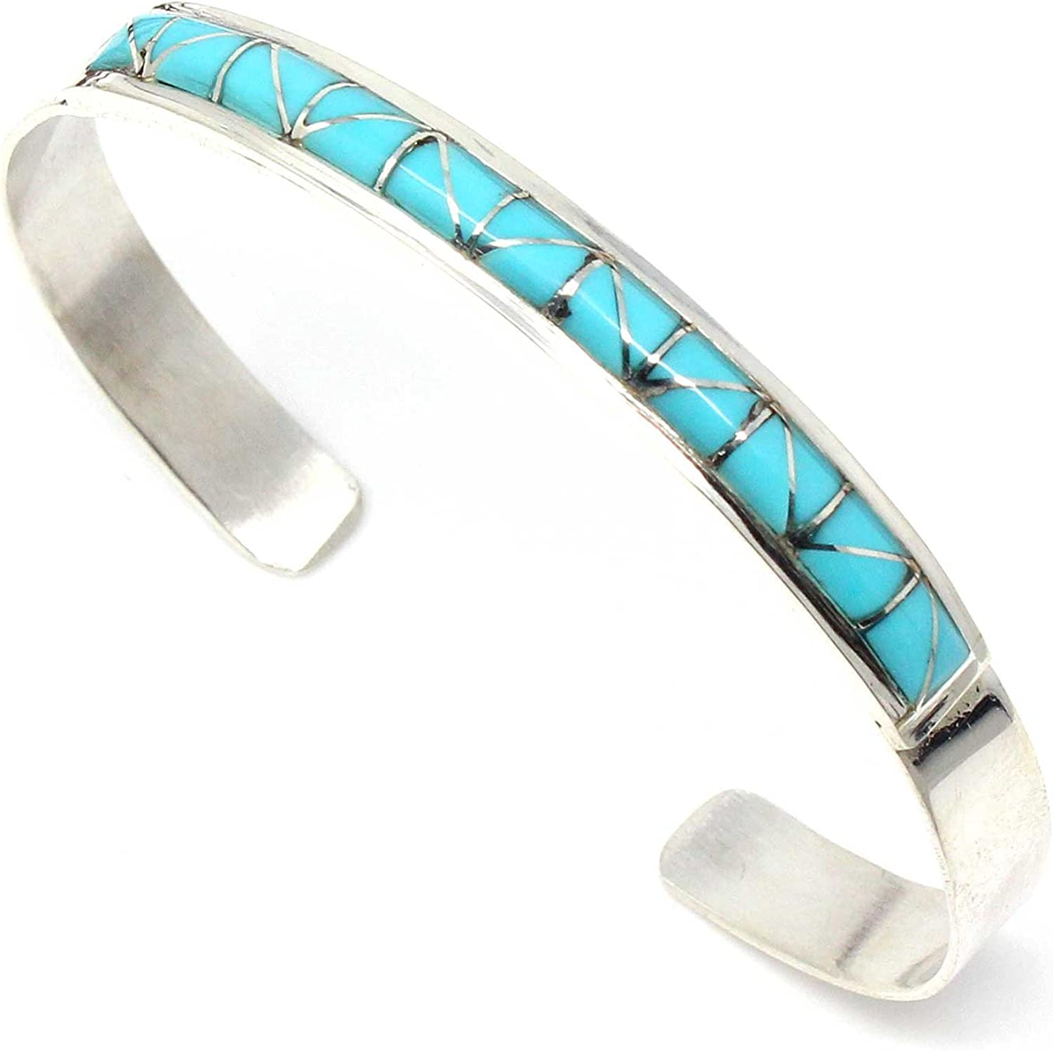 """Women's Turquoise Inlay & Stelring SIlver Bracelet by Gloria Maloney Tuscon 