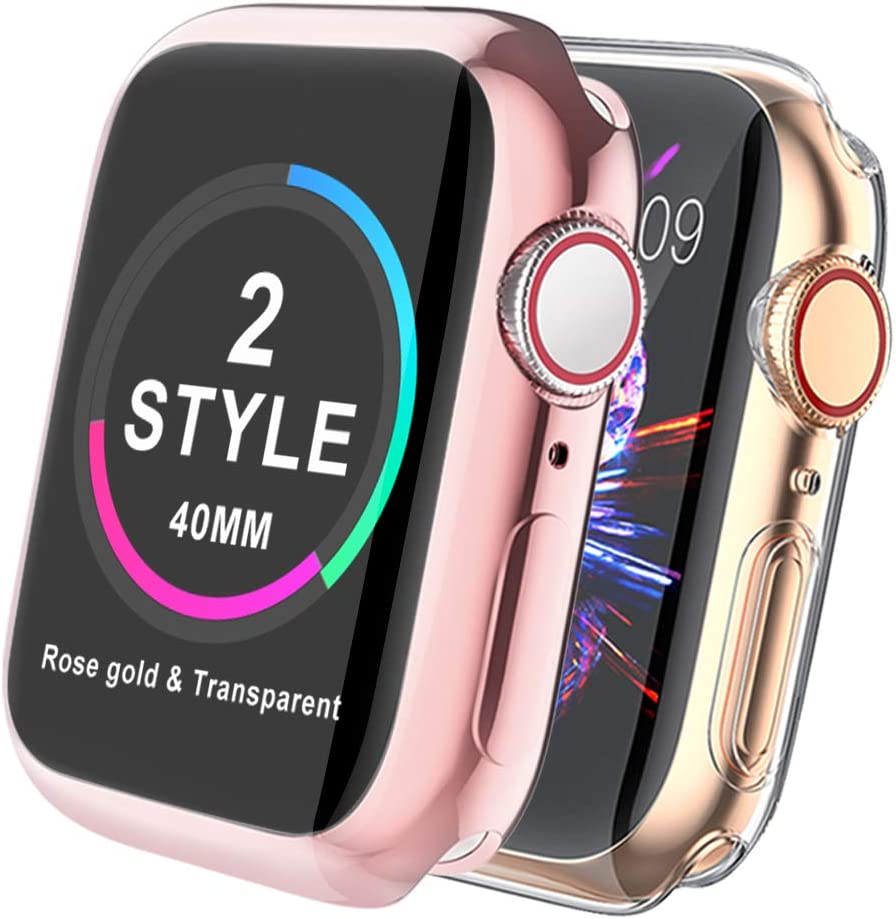 【2-Style】MARGE PLUS Compatible with Apple Watch Screen Protector 40mm Series 5 Series 4, All-Around Protective HD Clear Ultra-Thin TPU iwatch Case for Apple Watch 40mm, Rose Gold+Transparent