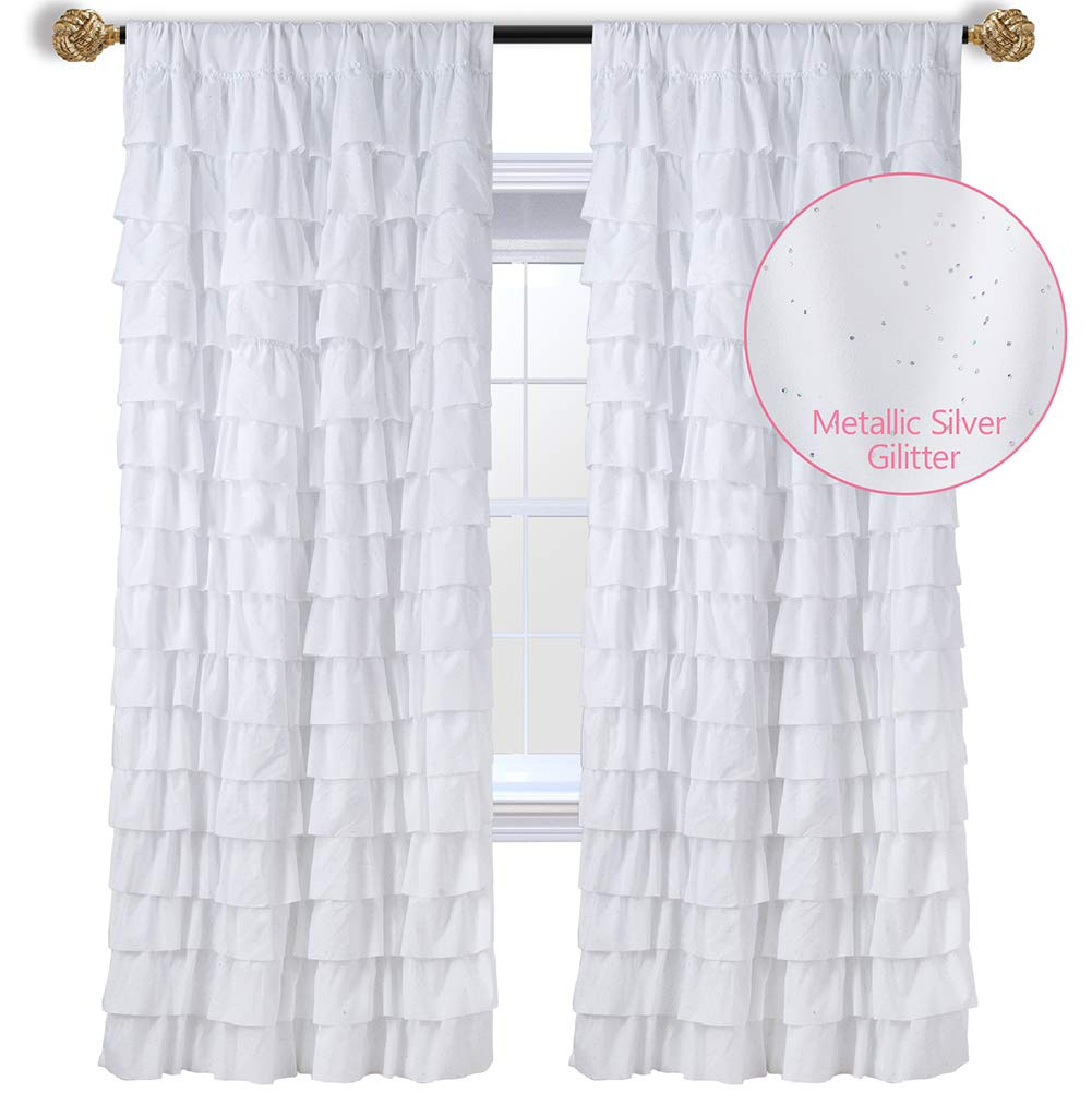 WestWeir White Ruffle Curtains - Set of 2 Panels, Silver Glitter for Kids Room 42 inches x 63 inches by WestWeir