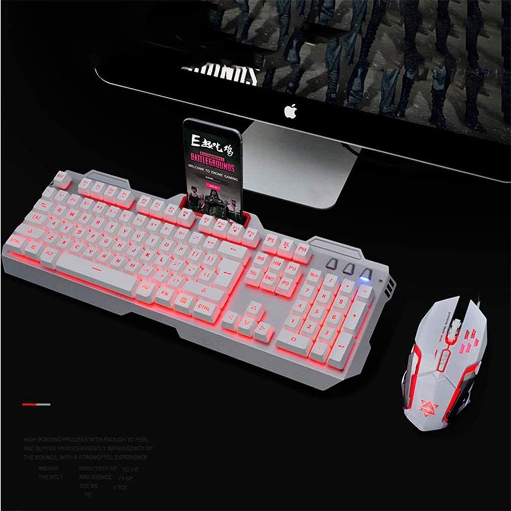 HourenJP Multimedia No Lagging Keyboard+Optical Mice,Ergonomic USB Wired Spill-Resistant Vibrant Beautiful LED Colors Keyboard for PC Laptop//Computer