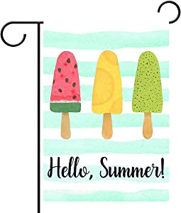 "Hello Summer Popsicles and Ice Cream Blue Stripe Double Sided Garden Yard Flag 12"" x 18"", Watermelon Pineapple Kiwi Fruit Popsicles Decorative Garden Flag Banner for Outdoor Home Decor Party"