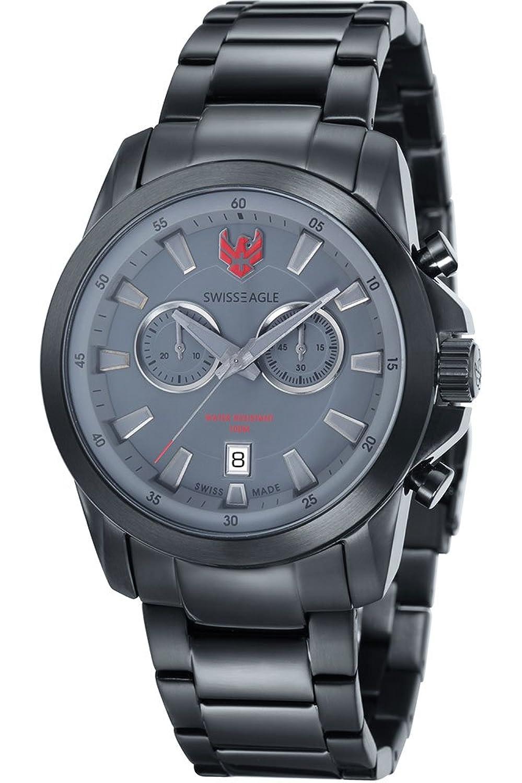 Swiss Eagle – se-9055 – 88 – Zermatt – Armbanduhr – Quarz Chronograph – Zifferblatt schwarz Armband Stahl vergoldet