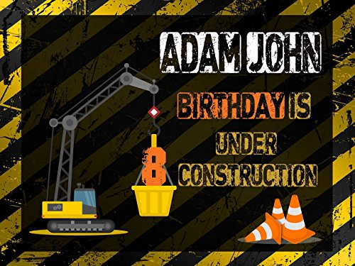 Custom Construction Cones Crane Machine Banner Decoration Birthday Party Poster with Crane - size 24x36, 48x24, 48x36; Birthday Banner Wall Décor, Handmade Party Supplies Poster Print -