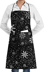 Christmas Snowflake Printing Apron Lace Unisex Mens Womens Chef Adjustable Polyester Long Full Black Cooking Kitchen Aprons Bib With Pockets For Restaurant Baking Crafting Gardening BBQ Grill