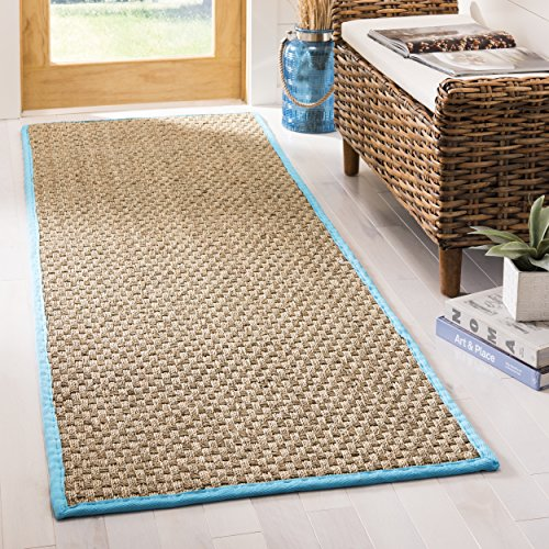 Safavieh Natural Fiber Collection NF114S Basketweave Natural and  Turquoise Seagrass Runner (2'6