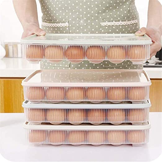 Cartón de huevos Cocina 24 Caja de huevos Refrigerador Caja de almacenamiento Caja de almacenamiento de picnic portátil Caja de huevos de plástico Huevo Bandeja huevo, 2 piezas. Refrigator de cocina a: