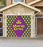 Outdoor Mardi Gras Decorations Garage Door Banner Cover Mural Décoration 8'x9' - Mardi Gras Diamonds - ''The Original Mardi Gras Supplies Holiday Garage Door Banner Decor''