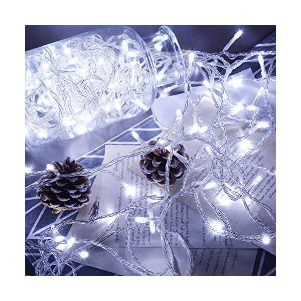 ipow 33M 300 LED Catene luminose Stringa luci Luci per albero di natale interno 8 Effetti di luce Impermeabilità IP44 Decorazione natalizia Interni ed Esterni, Matrimonio, Finestra, Luce Fredda 3 spesavip