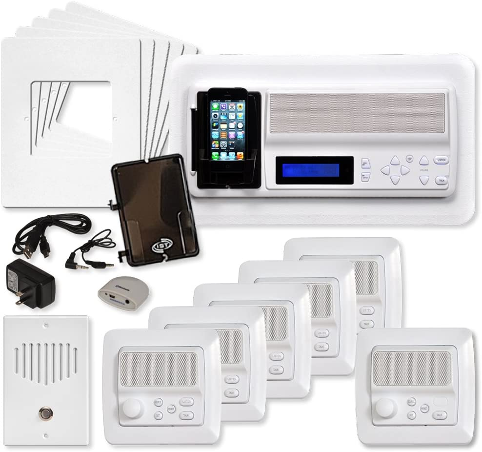 IST Retro Music & Intercom System Package, 5 Rooms (Vertical Frames), White