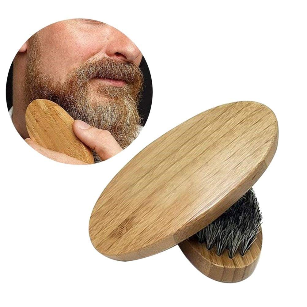 BESTOMZ Beard Brush with Round Wooden Handle and Natural Soft Horse Hair Bristles
