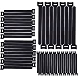 Home-Mart 50pcs 7.9inch Cable Ties Reusable Straps Adjustable Releasable Tidy Wrap Hook and Loop Long Large Strong Black…