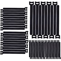 H HOME-MART 50pcs 7.9inch Reusable Cable Ties, Cable Management, Cable Straps Adjustable Releasable Tidy Wrap Hook and…