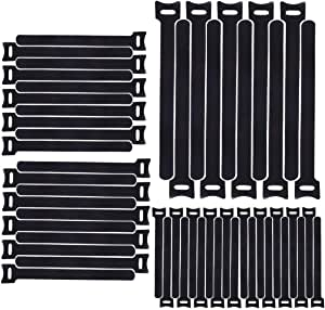Reusable Cable Ties, Home-Mart 50pcs 7.9inch Cable Ties Reusable Straps Adjustable Releasable Tidy Wrap Hook and Loop Long Large Strong Black Cable Management for PC Computer Electronics, 20cmx12mm