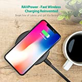 Wireless Charging Pad RAVPower Qi Certified Fast Wireless Charger Quick Charge, 5W Standard Charge for iPhone X/8/8 Plus/Nexus/Xperia & 10W Fast Charge for Galaxy S9/S9+/S8/S8+/S7 (Black)