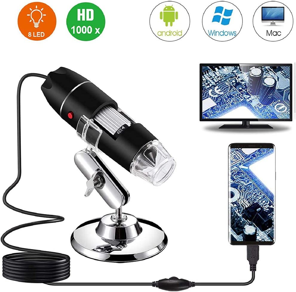Delaspe Microscopio Digital USB, cámara de endoscopio con Aumento LED, cámara de microscopio 1000X, con 8 LED, para Ventanas de PC móvil