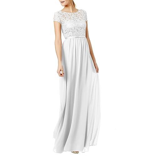 REPHYLLIS Womens Lace Cap Sleeve Evening Party Maxi Wedding Dress