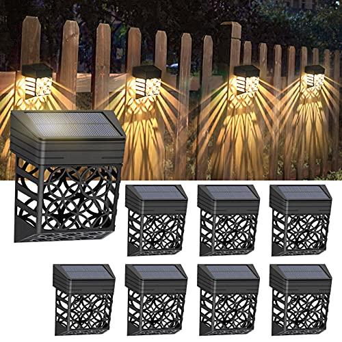 Litake 8Pack Solar Fence Lights Outdoor Solar Deck Lights Waterproof Decorative Solar Fence Wall Lighting for Garden…
