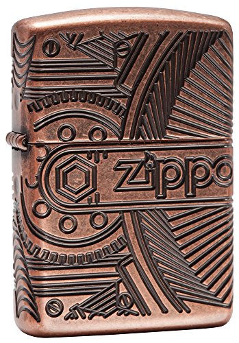Zippo Gear Armor Antique Pocket Lighter (Brass Antique Zippo)